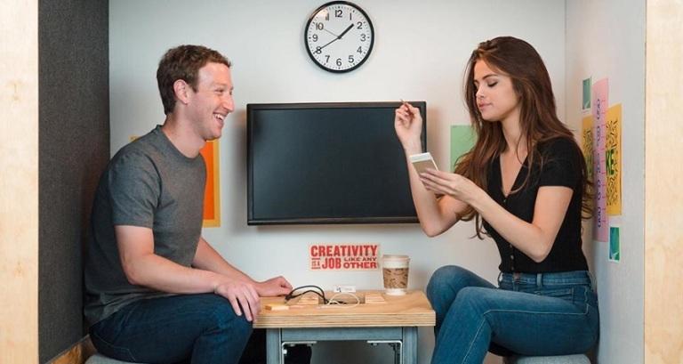 Selena Gomez with Mark Zuckerberg