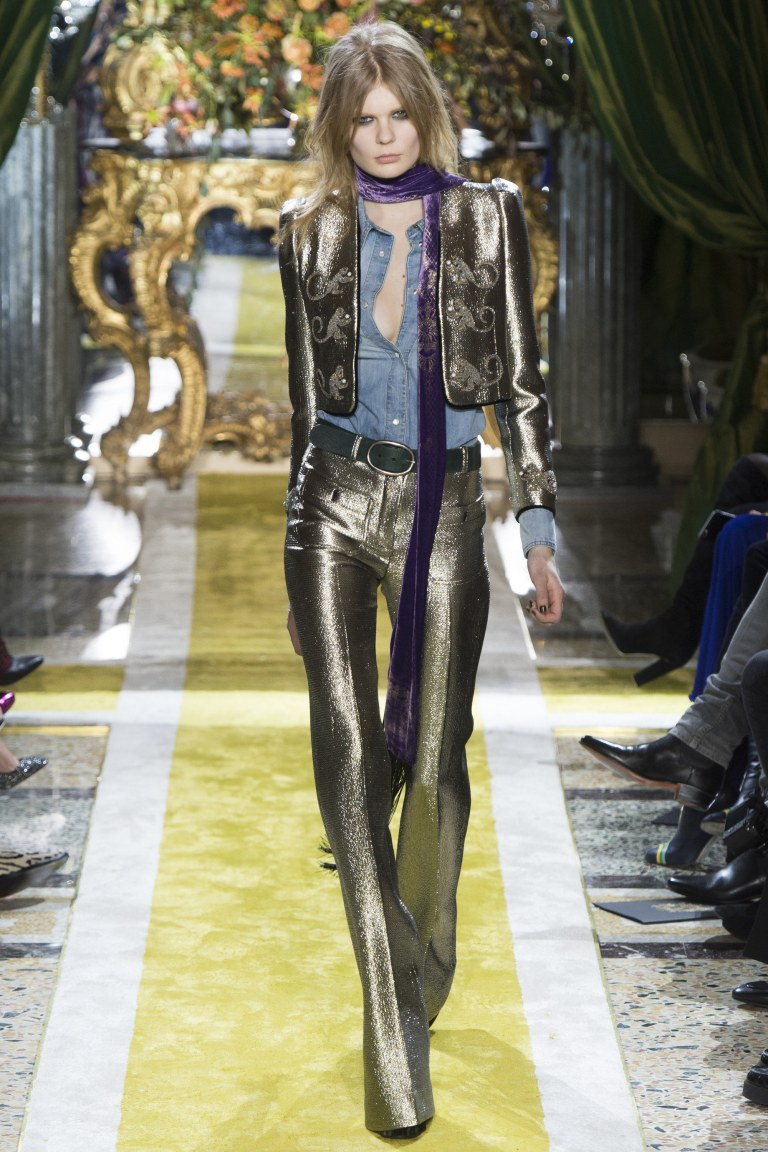 Roberto Cavalli Fall 2016 silver suit