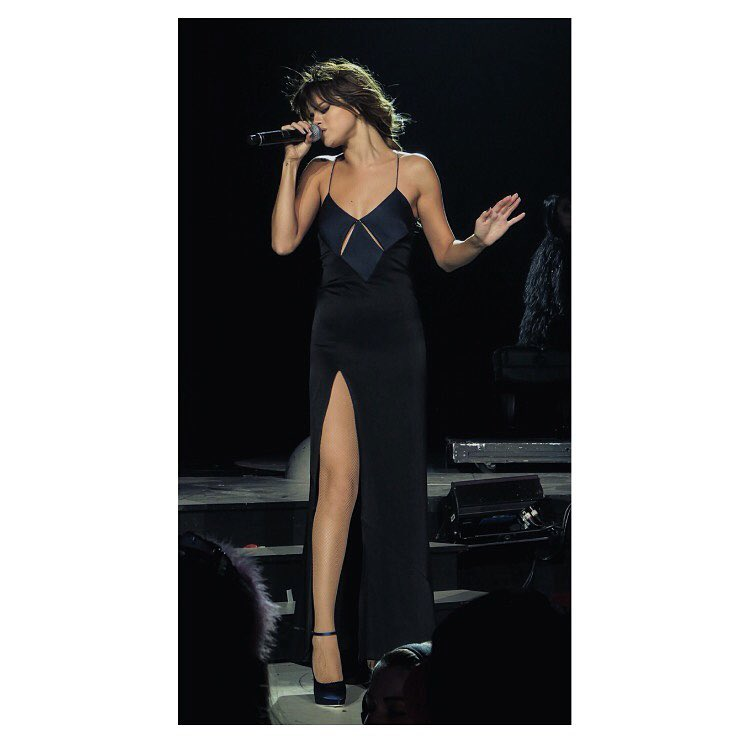 Selena Gomez black cut oout slip dress Revival tour photo instagram Chirs Classen