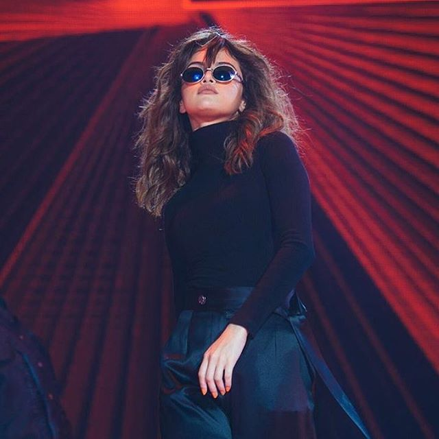 Selena Gomez black polo neck black trousers Revival Tour Malaysia photo chris classen
