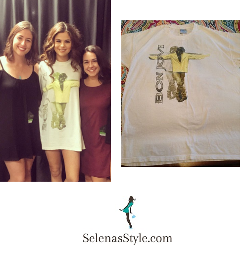 Selena Gomez Bon Jovi t-shirt Fresno meet and greet instagram