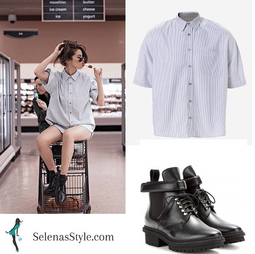 Selena Gomez grey striped shirt black boots supermarket instagram