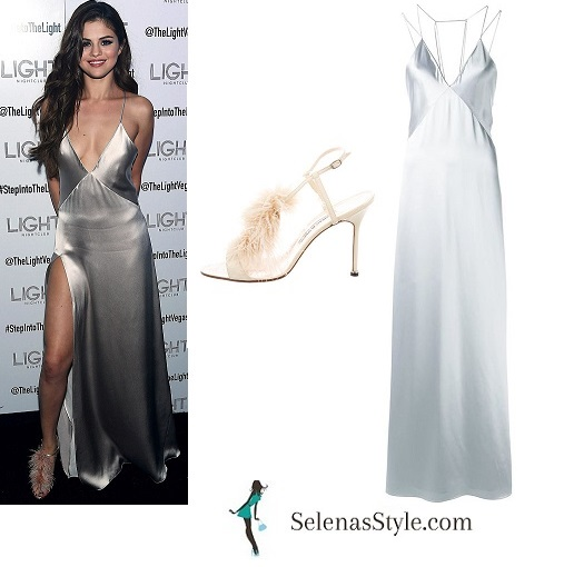 Selena Gomez silver dress The Light Nightclub instagram