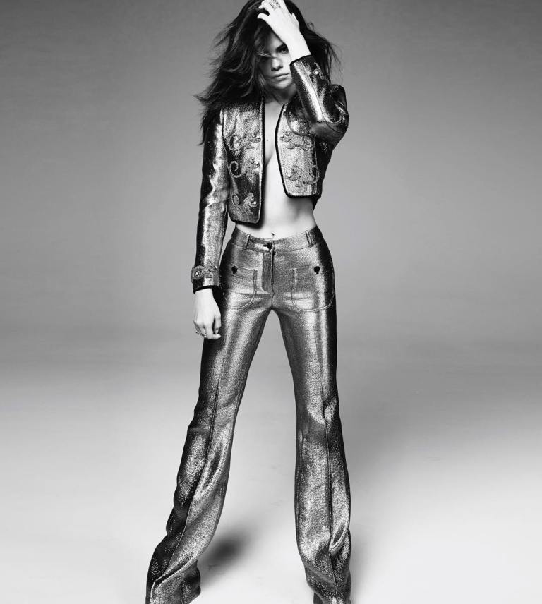 Selena Gomez silver suit Marie Claire