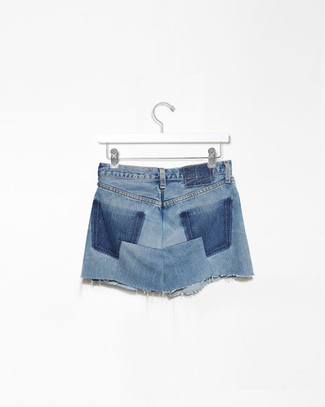 Vetements denim mini skirt back