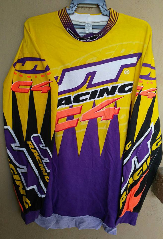 Vtg JT Racing C4 motocross BMX jersey shirt L , 80s Made In USA