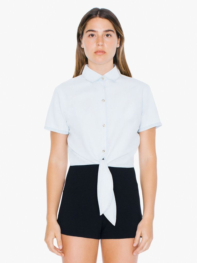 American Apparel Denim Mid-Length Tie-Up Blouse