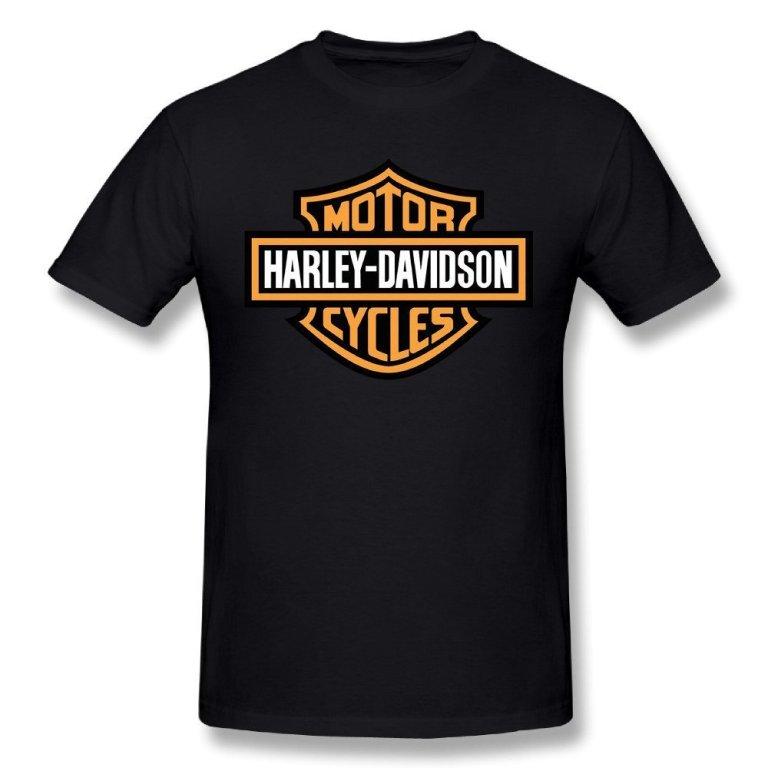 Harley-Davidson Men's Orange Bar & Shield Black T-Shirt