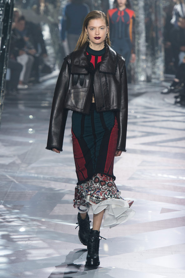 Louis Vuitton leather jacket and blue and red dress AW 2016