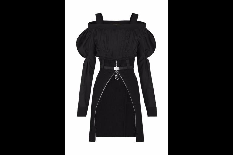 Louis Vuitton Stretch Zipped Bi Material Dress