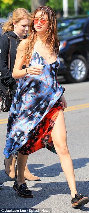 Selena Gomez blue and red dress black loafer New York photo Jackson Lee Splash News