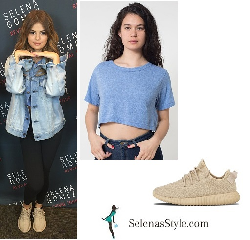 Selena gomez blue crop top Tulsa Revival Tour instagram