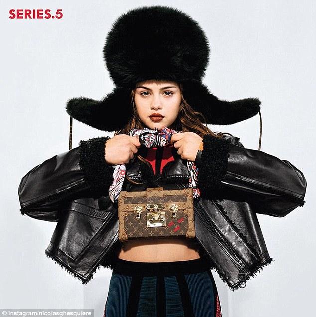 Selena gomez fur hat Louis Vuitton campaign 2016 photo instagram nicolas ghesquiere