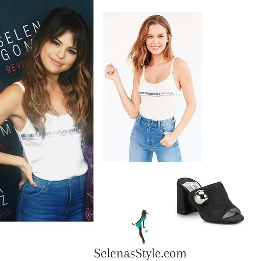 Selena Gomez white bacode tank Chicago Revival Tour instagram