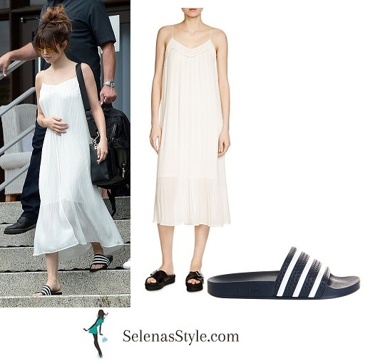 Selena Gomez white pleated dress Miami Revival tour instagram