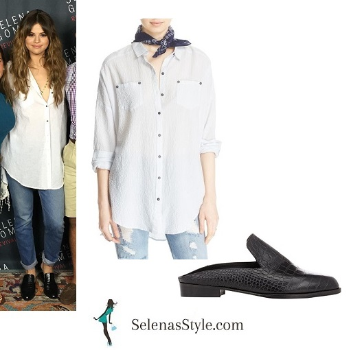 Selena Gomez white shirt black mules Revival Tour instagram