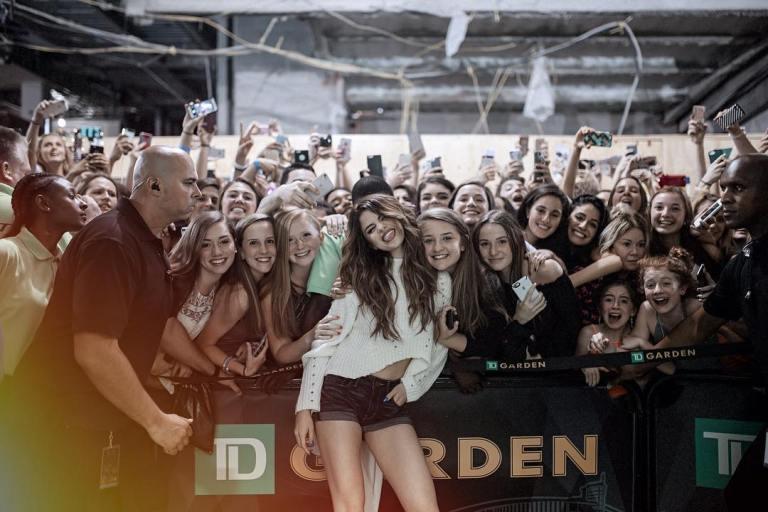 Selena Gomez white sweater black shorts Boston phot Instagram Selena gomez