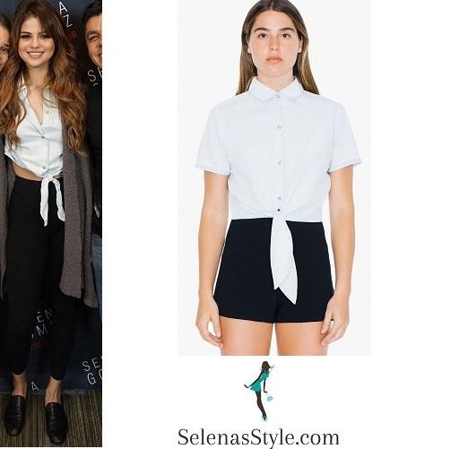 Selena Gomez white tie shirt New Orleans Revival Tour instagram