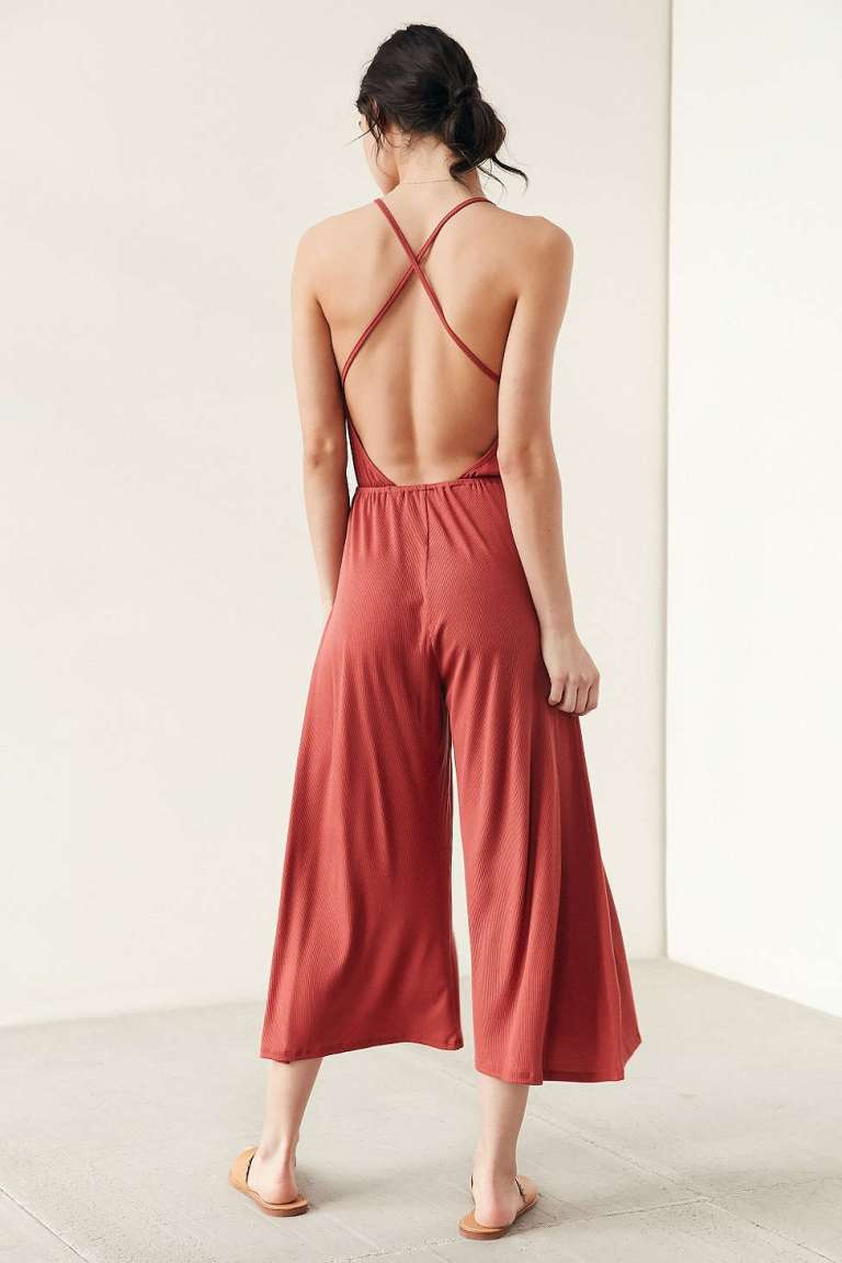 Silence + Noise Ribbed Knit Culotte Jumpsuit  back