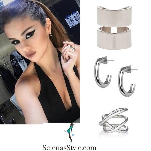 selena-gomez-black-halterneck-silver jewelry instagram