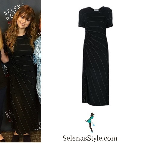 Selena Gomez black striped maxi dress Kansas city Revival Tour instagram