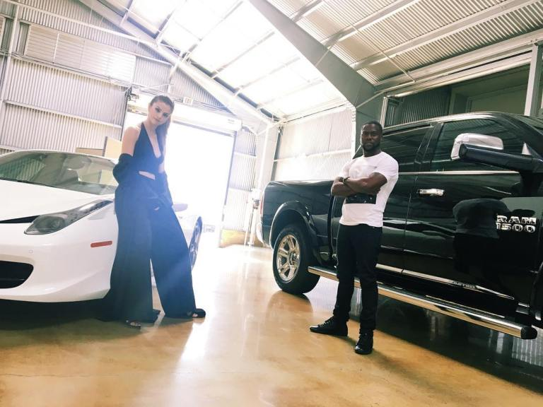 Selena gomez black top black trousers white car photo instagram selena gomez