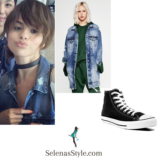 Selena gomez distressed denim jacket instagram