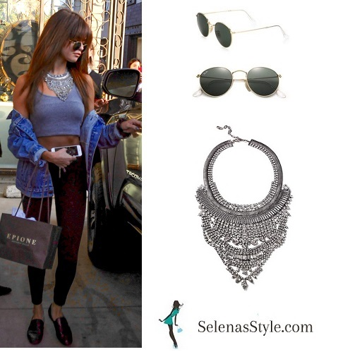 Selena Gomez grey crop top silver necklace 901 July instagram
