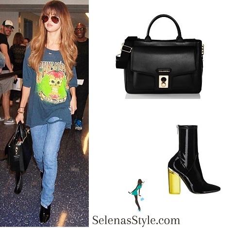 Selena Gomez guns n Roses skull tee LAX airport  instagram