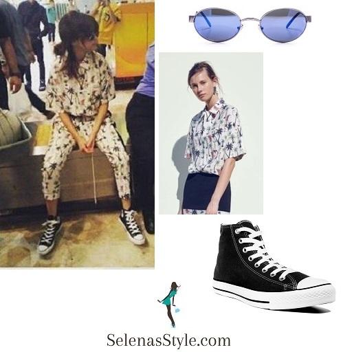 Selena Gomez palm tree outfit Jakarta airport instagram