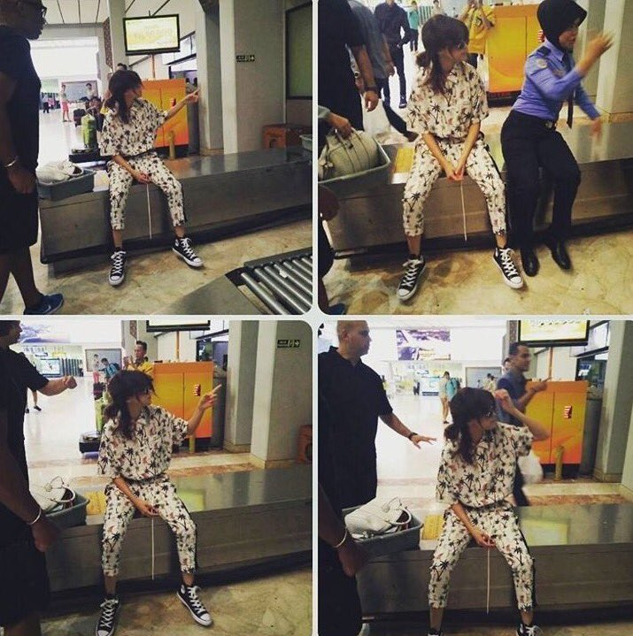 Selena Gomez palm tree outfit Jakarta airport