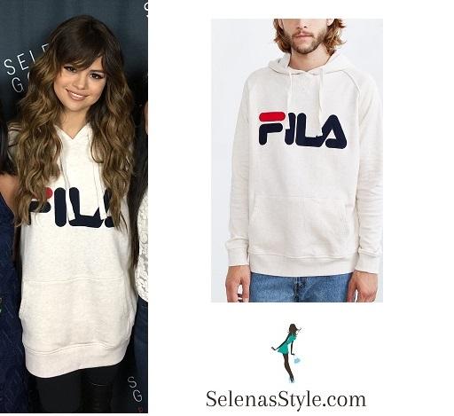 Selena gomez white fila hoodie sweatshirt Phoenix Revival Tour instagram