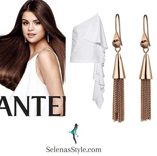 Selena Gomez white frill top Pantene 2016 instagram