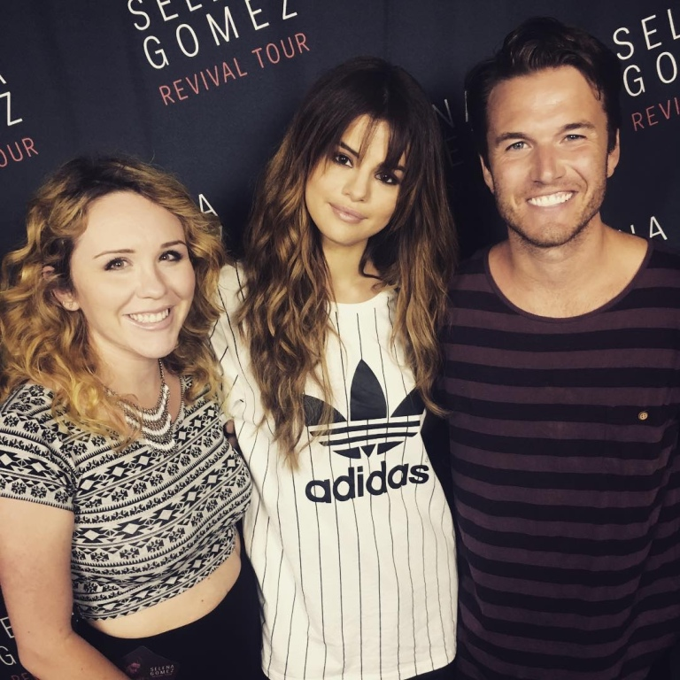 Selena Gomez white striped Adidas tee San diego photo Nathan Fast