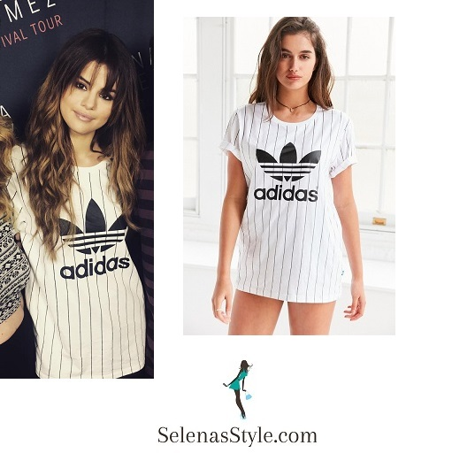 Selena Gomez white striped Adidas tee San diego Revival tour instagram