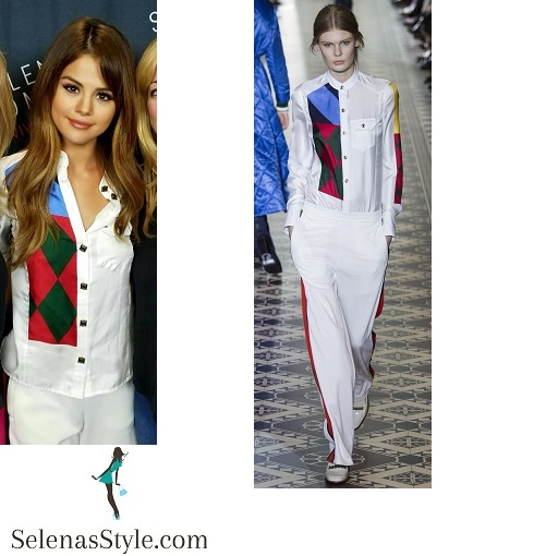 Selena gomez white trouser suit red and green harlequin Revival tour Los angeles instagram
