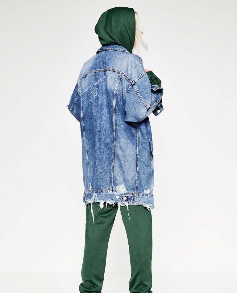 Zara Long Denim Jacket back view