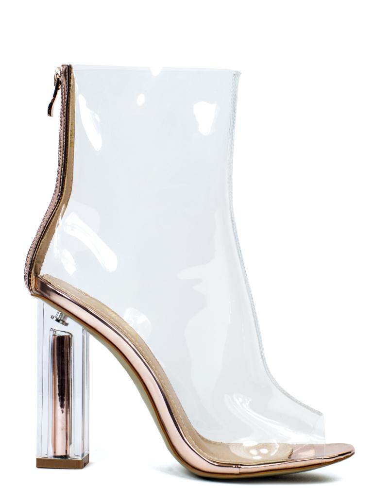La Moda Gold Digger Clear Perspex Rose Gold Block Heel Boots