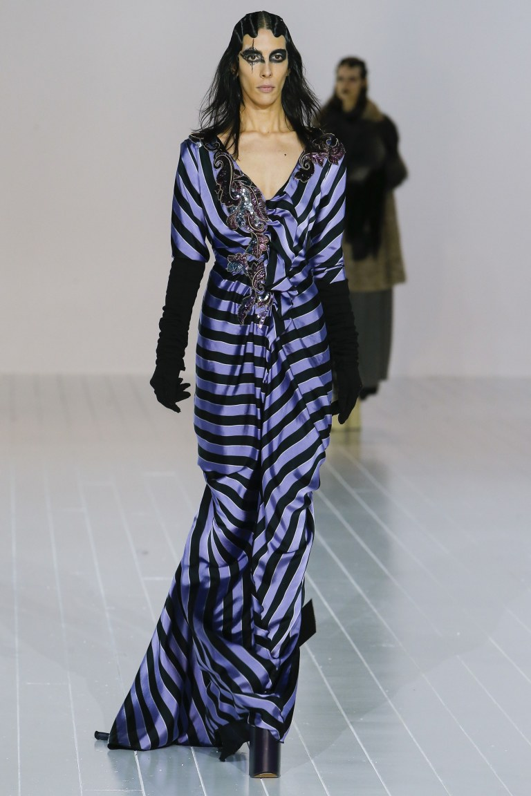 Marc Jacobs Fall 2016 blue and black striped dress