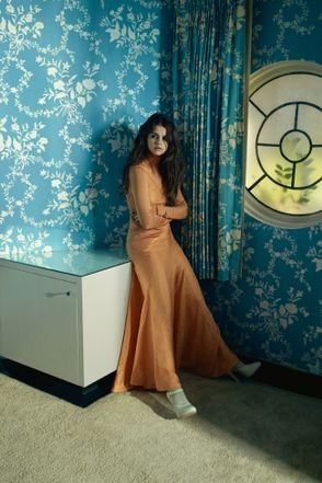 Selena Gomez style orange maxi dress Vogue Australia photo Emma Summerton