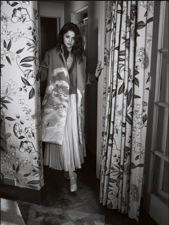 Selena Gomex style satin coat pleated skirt vogue australia photo Emma Summerton