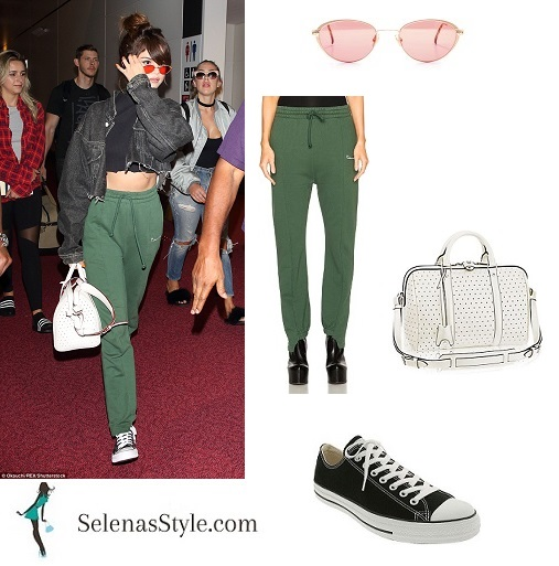 Selena Gomez cropped black polo denim jacket green joggers white bag Revival Tour August instagram