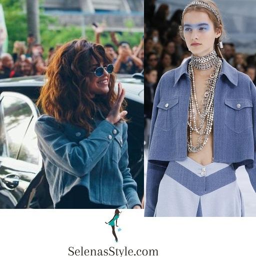 selena-gomez style -blue-cropped-jacket-kuala-lumpur-instagram