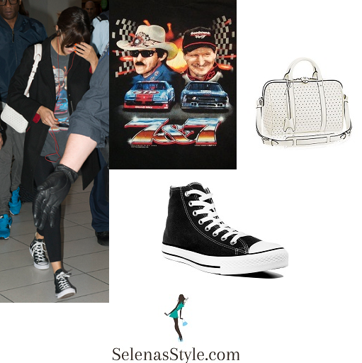 Selena Gomez style car t-shirt sneakers white bag Sydney airport august 2016 Revival Tour instagram.png