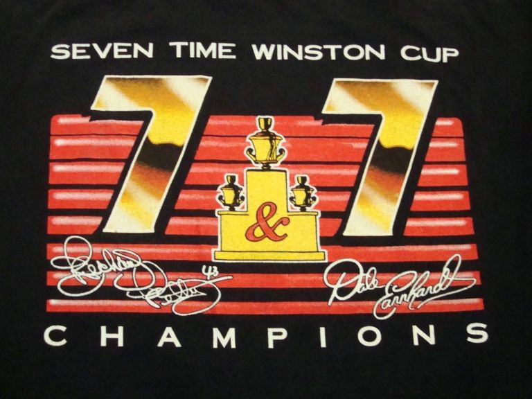 Vintage Richard Petty NASCAR 7&7 Dale Earnhardt 1995 Car Racing Champ T Shirt back view