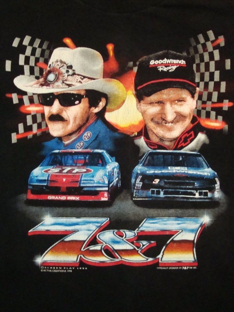 Vintage Richard Petty NASCAR 7&7 Dale Earnhardt 1995 Car Racing Champ T Shirt
