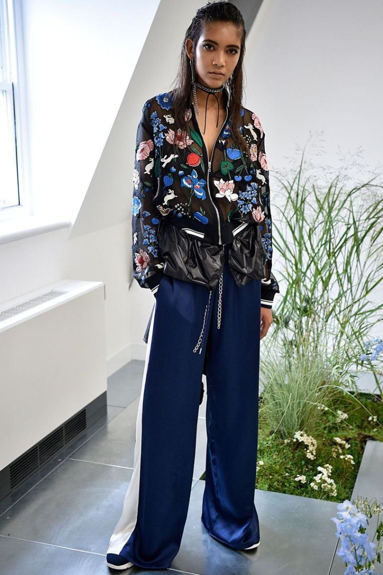 Markus Luper SS 17 sheer black embroidered bomber jacket and go faster blue trousers photo firstview.jpg