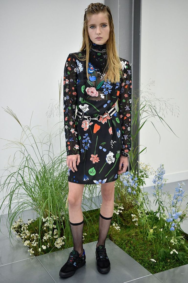 Markus Lupfer SS 17 black floral dress with sheer panel photo firstview.jpg