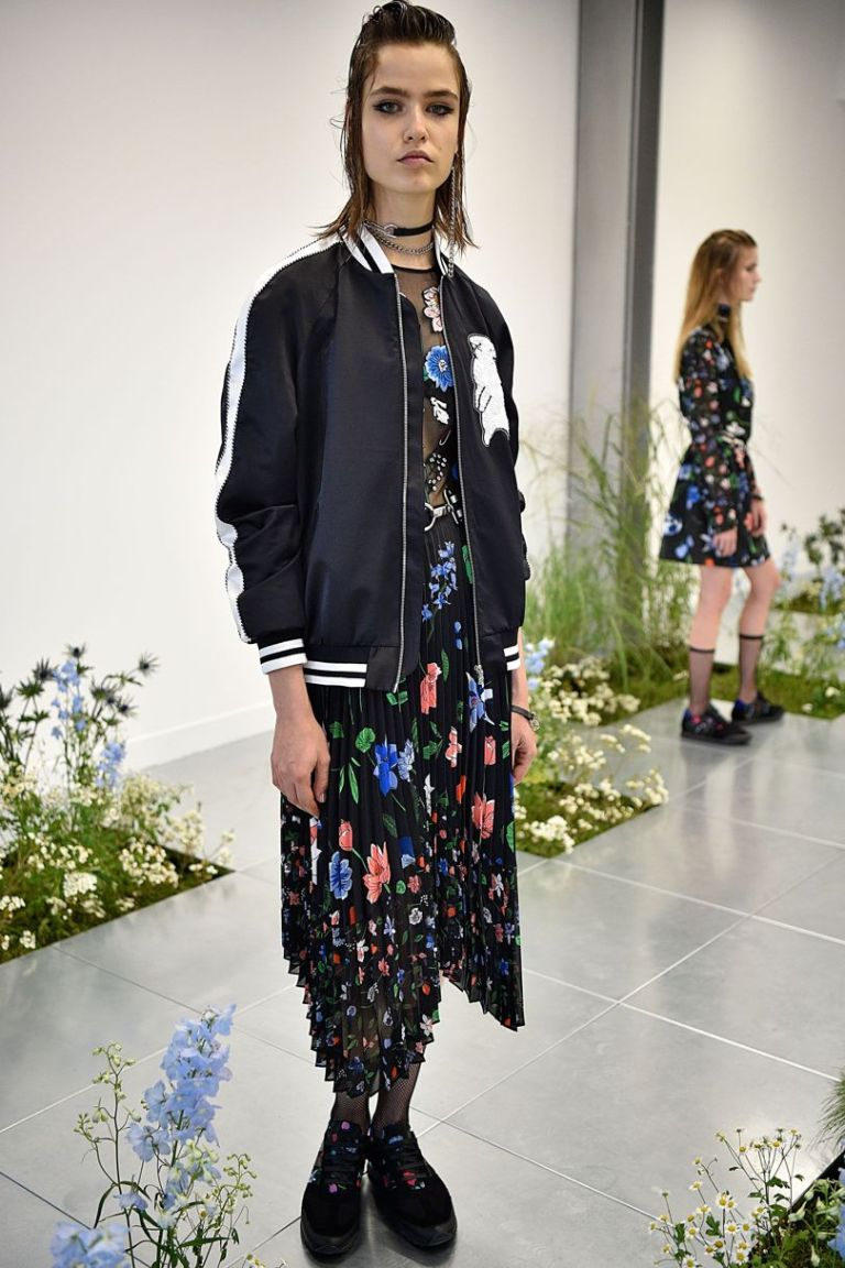 MArkus Lupfer SS17 black floral dress with sheer top pleated skirt black bomber photo firstview.jpg