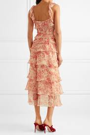 Vilshenko Giovanna Tiered Crinkled Silk-Chiffon Midi Dress back view